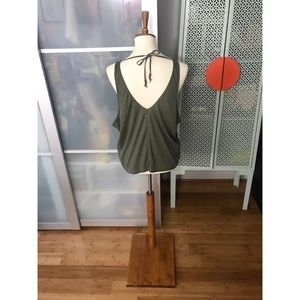 Prana Yoga Arbor Ribbed Olive Green Tank Top